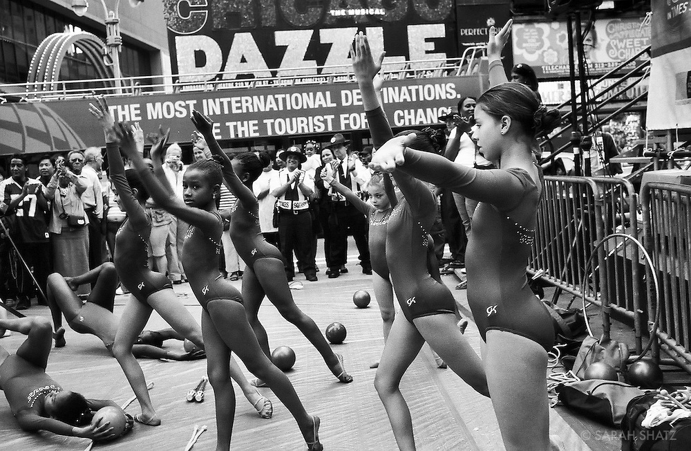 "Wendy Hillard Gymastics team perform in Times Square during ""Soltice in Times Square"""