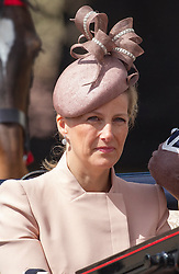 LONDON - UK - 15 JUNE 2013: Sophie, Countess of Wessex.<br /> Members of the British Royal Family join HM Queen Elizabeth for the annual Trooping The Colour Ceremony to mark the Queen's Official Birthday. The Queen and members of the family travelled by carriage to Horseguards for the ceremonial parade before joining her on the balcony of Buckingham Palace.<br /> The Duke of Edinburgh who normally accompanies the Queen was absent as he is still in hospital recovering from an operation.<br /> Photograph by Ian Jones.