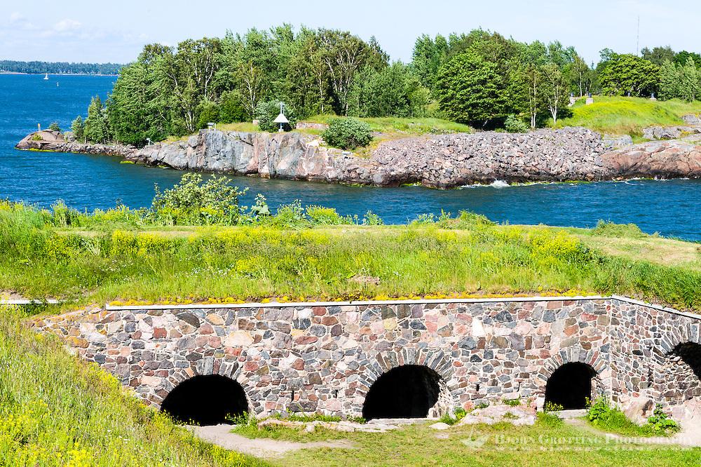 Finland, Helsinki. Suomenlinna sea fortress. Fortifications on Kustaanmiekka.