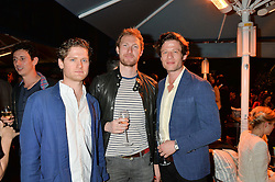 PICTURE SHOWS:-Left to right, KYLE SOLLER, SAM HOARE and JAMES NORTON.<br /> Tuesday 14th April 2015 saw a host of London influencers and VIP faces gather together to celebrate the launch of The Ivy Chelsea Garden. Live entertainment was provided by jazz-trio The Blind Tigers, whilst guests enjoyed Moët & Chandon Champagne, alongside a series of delicious canapés created by the restaurant's Executive Chef, Sean Burbidge.<br /> The evening showcased The Ivy Chelsea Garden to two hundred VIPs and Chelsea<br /> residents, inviting guests to preview the restaurant and gardens which marry<br /> approachable sophistication and familiar luxury with an underlying feeling of glamour and theatre. The Ivy Chelsea Garden's interiors have been designed by Martin Brudnizki Design Studio, and cleverly combine vintage with luxury, resulting in a space that is both alluring and down-to-earth.