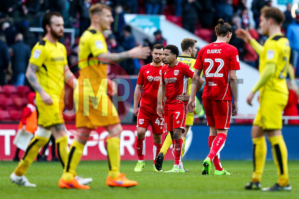 Korey Smith looks dejected after Bristol City draw 0-0 which with other results in the Championship moves them into the relegation zome for the first time this season - Rogan Thomson/JMP - 04/03/2017 - FOOTBALL - Ashton Gate - Bristol, England - Bristol City v Burton Albion - Sky Bet EFL Championship.
