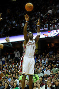 Apr 27, 2010; Cleveland, OH, USA; Cleveland Cavaliers forward Antawn Jamison (4) shoots during the first period in game five against the Chicago Bulls in the first round of the 2010 NBA playoffs at Quicken Loans Arena.  Mandatory Credit: Jason Miller-US PRESSWIRE