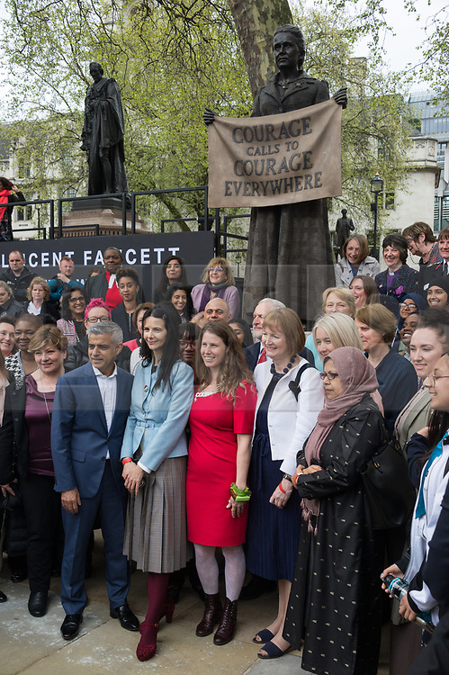 © Licensed to London News Pictures. 24/04/2018. London, UK. © Licensed to London News Pictures. 24/04/2018. London, UK. Statue unveiling of the Suffragist leader Millicent Fawcett in Parliament Square. The Mayor of London commissioned Turner prize-winning artist GILLIAN WEARING OBE to create the statue. Photo credit: Ray Tang/LNP