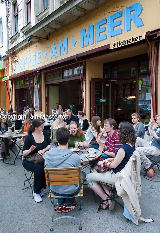 Pavement cafe on trendy Bergmannstrasse in Kreuzberg Berlin Germany