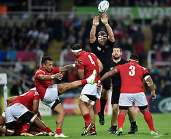 Sonatane Takulua of Tonga box-kicks the ball - Mandatory byline: Patrick Khachfe/JMP - 07966 386802 - 09/10/2015 - RUGBY UNION - St James' Park - Newcastle, England - New Zealand v Tonga - Rugby World Cup 2015 Pool C.