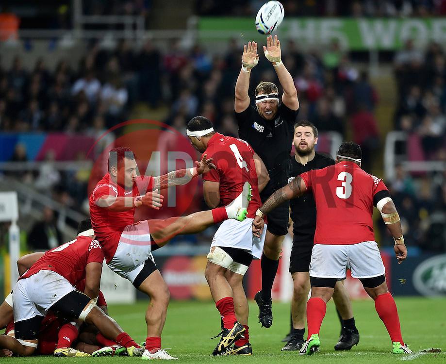 Sonatane Takulua of Tonga box-kicks the ball - Mandatory byline: Patrick Khachfe/JMP - 07966 386802 - 09/10/2015 - RUGBY UNION - St James' Park - Newcastle, England - New Zealand v Tonga - Rugby World Cup 2015 Pool C.
