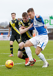 Lee Brown of Bristol Rovers is challenged by Tom Barkhuizen of Morecambe - Mandatory byline: Rogan Thomson/JMP - 07966 386802 - 20/02/2016 - FOOTBALL - Memorial Stadium - Bristol, England - Bristol Rovers v Morecambe - Sky Bet League 2.