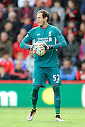 Liverpool goalkeeper Danny Ward during the Barclays Premier League match between Bournemouth and Liverpool at the Goldsands Stadium, Bournemouth, England on 17 April 2016. Photo by Graham Hunt.