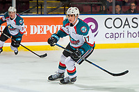 KELOWNA, CANADA - JANUARY 16:  Alex Swetlikoff #17 of the Kelowna Rockets skates against the Moose Jaw Warriors on January 16, 2019 at Prospera Place in Kelowna, British Columbia, Canada.  (Photo by Marissa Baecker/Shoot the Breeze)