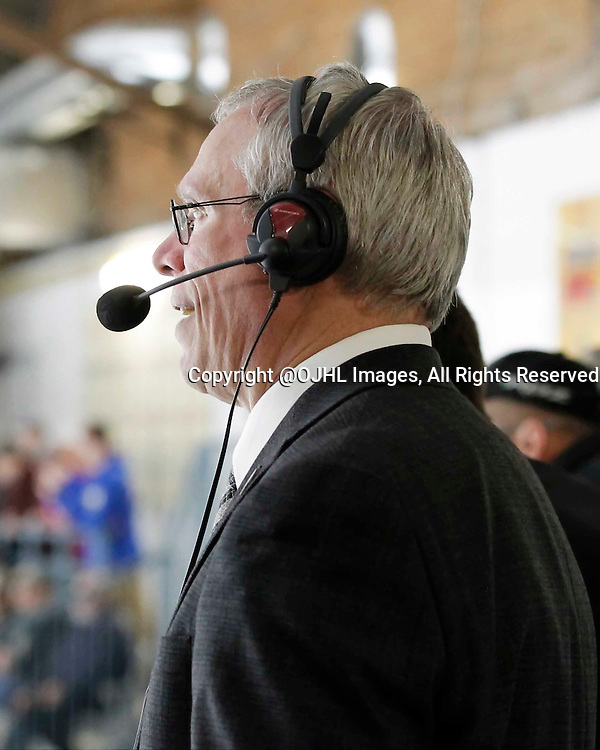 TRENTON, - Apr 17, 2016 -  Ontario Junior Hockey League game action between the Trenton Golden Hawks and the Georgetown Raiders. Game 3 of the Buckland Cup Championship Series, Announcer at the Duncan Memorial Gardens, ON. (Photo by Amy Deroche / OJHL Images)