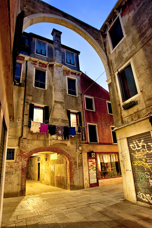 Laundry hanging in the alleyway in Venice, Italy