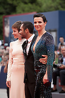 Actress Lou de Laage,  director Piero Messina and actress Juliette Binoche at the gala screening for the film L'attesa at the 72nd Venice Film Festival, Saturday September 5th 2015, Venice Lido, Italy.