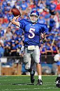 Oct 11, 2008; Lawrence, KS, USA; Kansas Jayhawks quarterback Todd Reesing (5) throws the ball down the field against the Colorado Buffaloes during the fourth quarter at Memorial Stadium.  Kansas won 30-14.