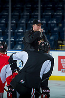 KELOWNA, CANADA - OCTOBER 20: Portland Winterhawks' assistant coach, Danny Flynn, stands on the ice during morning practice at the Kelowna Rockets on October 20, 2017 at Prospera Place in Kelowna, British Columbia, Canada.  (Photo by Marissa Baecker/Shoot the Breeze)  *** Local Caption ***