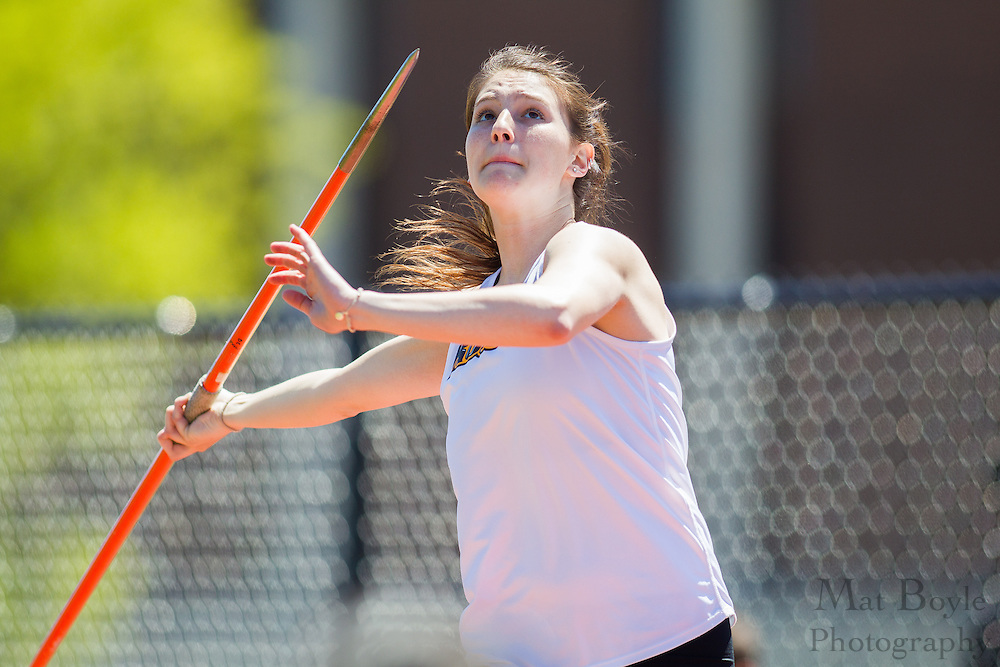 Rowan University Junior Sarah Dores competes in the women's javelin at the NJAC Track and Field Championships at Richard Wacker Stadium on the campus of  Rowan University  in Glassboro, NJ on Saturday May 4, 2013. (photo / Mat Boyle)