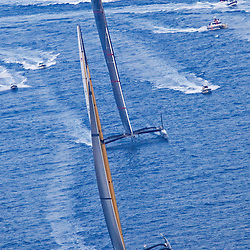 BMW Oracle ahead of ALINGHI<br /> BMW Oracle wins the America's Cup<br /> Race2<br /> 2010 America's Cup, Valencia<br /> ©2010 Kaufmann/Forster go4image.com