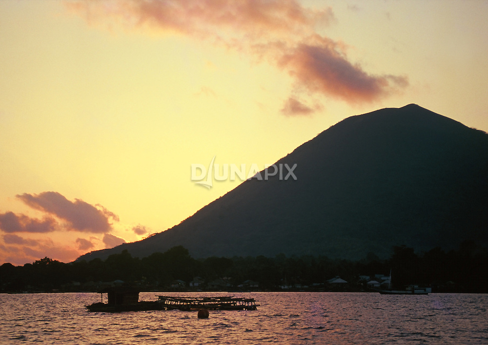 Sunset over Gunung Api, Banda, Maluku, Indonesia
