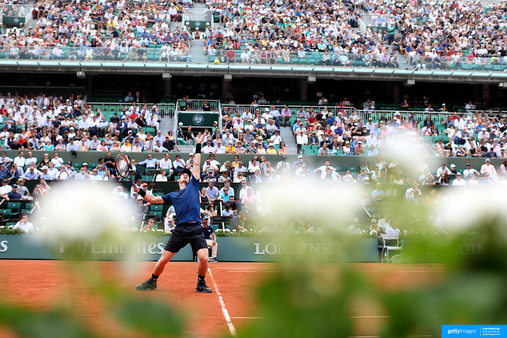 2017 French Open Tennis Tournament - Day Three.  Andy Murray of Great Britain in action against Andrey Kuznetsov of Russia during the Men's Singles round one match at the 2017 French Open Tennis Tournament at Roland Garros on May 30th, 2017 in Paris, France.  (Photo by Tim Clayton/Corbis via Getty Images)