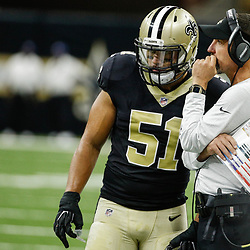 Aug 31, 2017; New Orleans, LA, USA; New Orleans Saints defensive coordinator Dennis Allen talks with linebacker Manti Te'o (51)  during the first half of a preseason game against the Baltimore Ravens at the Mercedes-Benz Superdome. Mandatory Credit: Derick E. Hingle-USA TODAY Sports