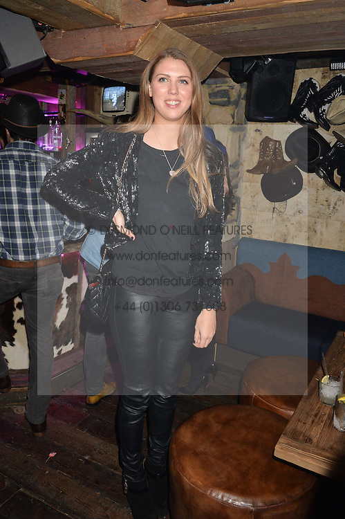 SABRINA PERCY at a party to celebrate the opening of Beaver Lodge, a new bar & club from the Inception Group at 266 Fulham Road, London SW10 on 4th December 2014.