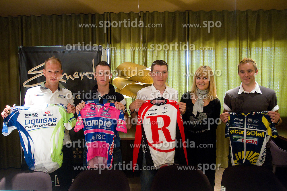 Slovenian riders Kristijan Koren of Liquigas, Grega Bole of Lampre, Jani Brajkovic of Team RadioShack, Dada Jerovsek of Kaval Group  and Borut Bozic of Vacansoleil at press conference before cycling race Tour de France 2011, on June 27, 2011, in Crnuce, Ljubljana, Slovenia. (Photo by Vid Ponikvar / Sportida)
