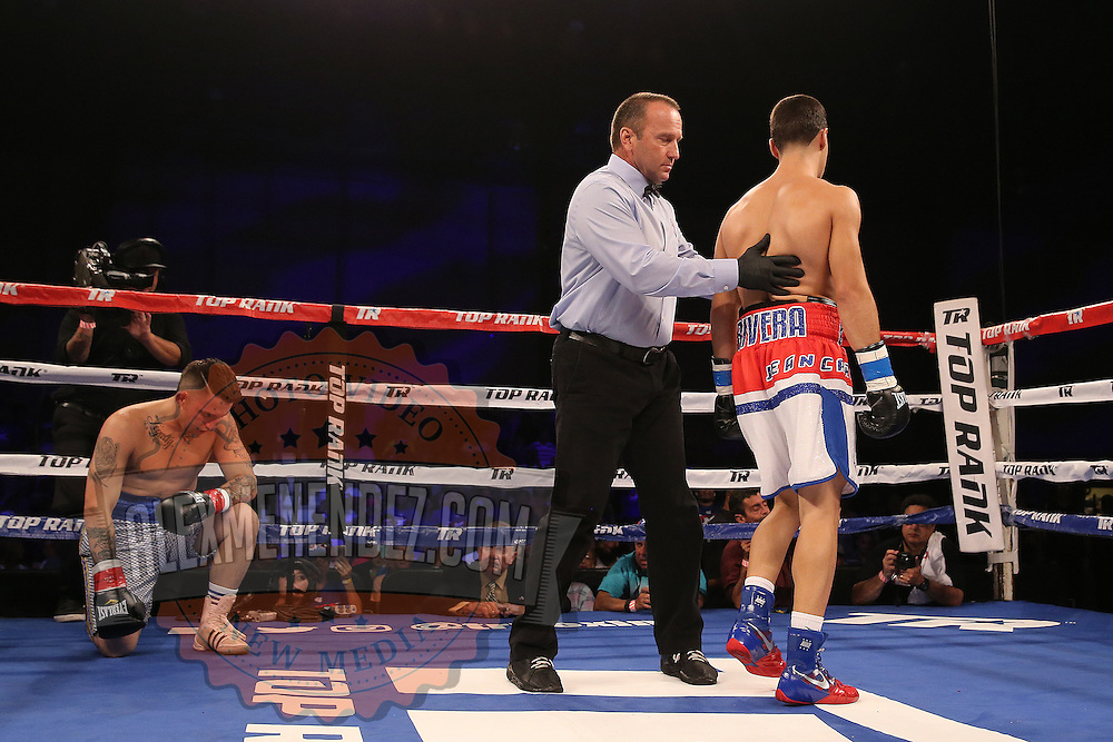 Jean Carlos Rivera beats Raul Chirino during the Top Rank boxing event at Osceola Heritage Park in Kissimmee, Florida on September 22, 2016.