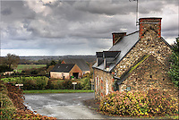 Afternoon showers in the village of Runan, Brittany, Bretagne, France