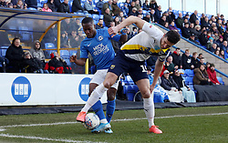 Siriki Dembele of Peterborough United battles with John Mousinho of Oxford United - Mandatory by-line: Joe Dent/JMP - 08/02/2020 - FOOTBALL - Weston Homes Stadium - Peterborough, England - Peterborough United v Oxford United - Sky Bet League One