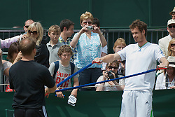LONDON, ENGLAND - Thursday, June 30, 2011: Andy Murray (GBR) warms-up on a public court during day ten of the Wimbledon Lawn Tennis Championships at the All England Lawn Tennis and Croquet Club. (Pic by David Rawcliffe/Propaganda)