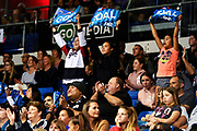 Mystics fans and supporters celebrate a goal.<br /> Mystics v Pulse, ANZ Premiership, The Trusts Arena, Auckland, New Zealand. 20 May 2019. © Copyright Image: Marc Shannon / www.photosport.nz.