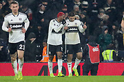GOAL - Fulham striker Aleksandar Mitrovic (9) celebrates with Fulham striker Ryan Babel (12) during the Premier League match between Fulham and Brighton and Hove Albion at Craven Cottage, London, England on 29 January 2019.