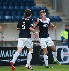 Falkirk's Jay Fulton celebrates after scoring their second goal.<br /> Falkirk 2 v 1 Dunfermline, Scottish League Cup, 27/8/2013, at The Falkirk Stadium.<br /> &copy;Michael Schofield.
