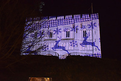 Christmas projection onto Norwich castle, December 2016 UK