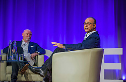 Theo Paphitis of BBC's Dragons' Den, right, in conversation with entrepreneur Sir Tom Hunter at the Scottish Edge startup finals held at RBS HQ, Gogarburn, Edinburgh. Pic: Terry Murden @edinburghelitemedia