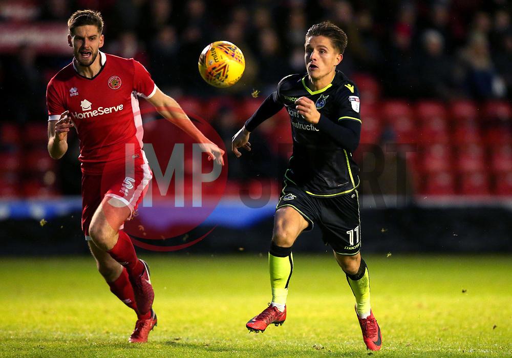 Tom Nichols of Bristol Rovers beats Jon Guthrie of Walsall to the ball - Mandatory by-line: Robbie Stephenson/JMP - 26/12/2017 - FOOTBALL - Banks's Stadium - Walsall, England - Walsall v Bristol Rovers - Sky Bet League One