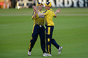 Jimmy Adams and Gavin Griffiths of Hampshire during the NatWest T20 Blast South Group match between Hampshire County Cricket Club and Somerset County Cricket Club at the Ageas Bowl, Southampton, United Kingdom on 29 July 2016. Photo by David Vokes.