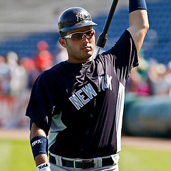 February 27, 2011; Clearwater, FL, USA; New York Yankees Jesus Montero (83) during batting practice before a spring training exhibition game against the Philadelphia Phillies at  Bright House Networks Field. Mandatory Credit: Derick E. Hingle