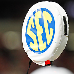 Dec 3, 2011; Atlanta, GA, USA; A detailed view of an SEC logo on a yard marker prior to kickoff of the 2011 SEC championship game between the LSU Tigers and the Georgia Bulldogs at the Georgia Dome.  Mandatory Credit: Derick E. Hingle-US PRESSWIRE