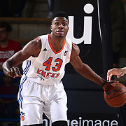 Westchester Knicks Forward THANASIS ANTETOKOUNMPO (43) looks to pass the ball in the first half of a NBA D-league regular season finale between the Delaware 87ers and the Westchester Knicks Friday, Apr. 01, 2016, at The Bob Carpenter Sports Convocation Center in Newark, DEL.<br />