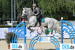 30.06.2015, Olympiapark Berlin, Berlin, GER, moderner Fünfkampf WM, Staffelbewerb Damen, im Bild Annika Schleu (TSV Spandau) auf Emillia beim Springreiten // during Women's relay race of the the world championship of Modern Pentathlon at the Olympiapark Berlin in Berlin, Germany on 2015/06/30. EXPA Pictures © 2015, PhotoCredit: EXPA/ Eibner-Pressefoto/ Hundt<br /> <br /> *****ATTENTION - OUT of GER*****