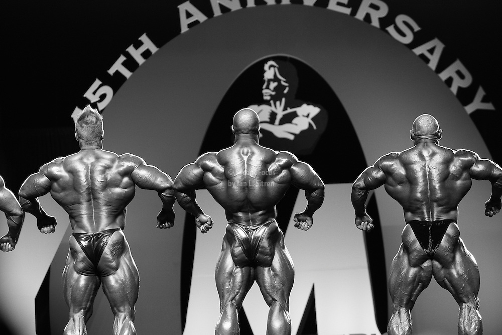 Phil Heath, Branch Warren, and Jay Cutler comparisons at the 2010 Mr. Olympia finals in Las Vegas.