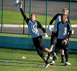 PODGORICA, MONTENEGRO - Thursday, September 2, 2010: Wales' goalkeepers Boaz Myhill, Jason Brown and Wayne Hennessey during a training session at the Montenegro FA Technical Centre ahead of the UEFA Euro 2012 Qualifying Group 4 match against Montenegro. (Pic by David Rawcliffe/Propaganda)