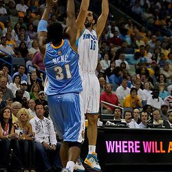 27 April 2009: New Orleans Hornets forward Peja Stojakovic (16) shoots over Denver Nuggets center Nene' (31) during game four of the NBA Western Conference Quarterfinals playoffs between the New Orleans Hornets and the Denver Nuggets at the New Orleans Arena in New Orleans, Louisiana.