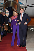 Staatsbezoek van Koning Willem Alexander en Koningin Máxima, aan de Portugese Republiek.<br /> <br /> Statevisit of King Willem Alexander and Queen Maxima to the republic of Portugal<br /> <br /> Op de foto / On the photo: Aankomst Koning Willem Alexander en koningin maxima op Vliegveld Figo Maduro // Arrival of King Willem Alexander and Queen Maxima on Airport Figo Maduro