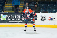 KELOWNA, CANADA - FEBRUARY 6: Deven Sideroff #34 of Kamloops Blazers stands on the ice during warm up against the Kelowna Rockets on February 6, 2015 at Prospera Place in Kelowna, British Columbia, Canada.  (Photo by Marissa Baecker/Shoot the Breeze)  *** Local Caption *** Deven Sideroff;