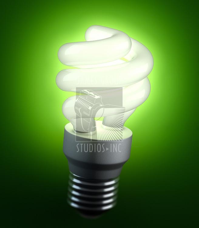 An energy saving lightbulb shinging green light