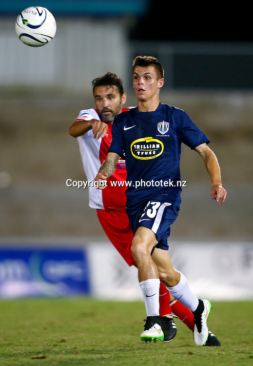 uckland's Sam Burfoot in action. 2015 Fiji Airways OFC Champions League, Amicale FC v Auckland City FC, ANZ Stadium, Suva, Saturday 18th April 2015. Photo: Shane Wenzlick / www.fb.phototek.nz