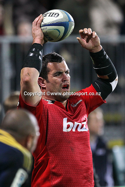 Corey Flynn of the Crusaders about to take a lineout throw during the Investec Super Rugby game between Crusaders v Highlanders at AMI Stadium, Christchurch. 12 July 2014 Photo: Joseph Johnson/www.photosport.co.nz