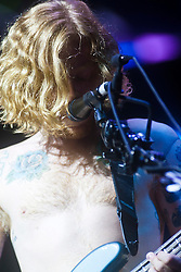 James Johnstone of Biffy Clyro headline Sunday night on the main stage..Sunday at Rockness 2012..©Michael Schofield..