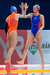 Catharina Van Der Sloot #4 of Netherlands, Nomi Stomphorst #6 of Netherlands during the semi final Netherlands vs Russia on LEN European Aquatics Waterpolo January 23, 2020 in Duna Arena in Budapest, Hungary